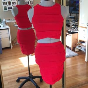 Red Two Piece Skirt Set Small Medium